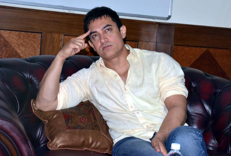 Bollywood star Aamir Khan. Addressing a press conference  during his visit in Bhopal, Capital city of Madhya pradesh state in India royalty free stock photos