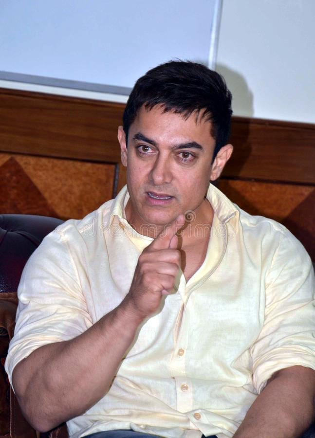 Bollywood star Aamir Khan. Addressing a press conference  during his visit in Bhopal, Capital city of Madhya pradesh state in India royalty free stock images