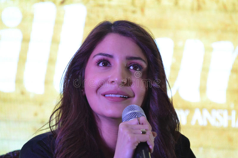 """Bollywood super star Anushka Sharma promotes her upcoming movie """"Phillauri"""" in Bhopal. On Thursday 09 March. She plays a Ghost in this movie.nThe royalty free stock photography"""