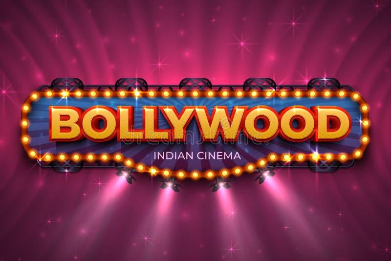 Bollywood tło Indiański kinowy plakat z tekstem i punkt zaświecamy, Indiańska kinematografii scena Wektor 3D Bollywood royalty ilustracja