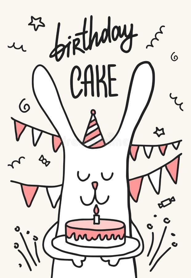 Bolo bonito do feliz aniversario da posse do coelho com uma vela Ilustração lisa do animal do vetor dos desenhos animados ilustração do vetor