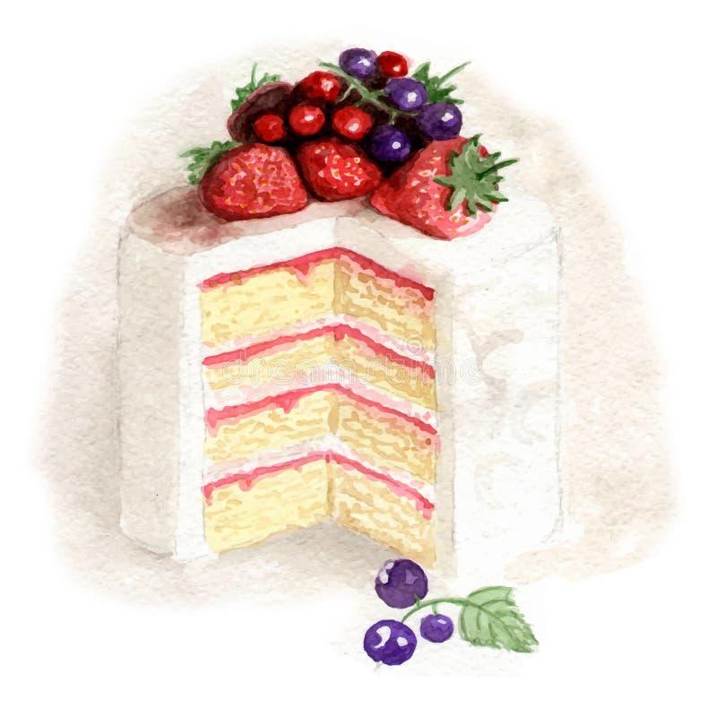 Bolo branco da aquarela com frutos ilustração do vetor