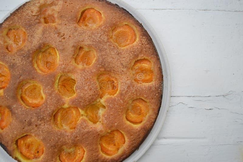 Bolo caseiro da fruta Torte americano original com abricós fotografia de stock royalty free