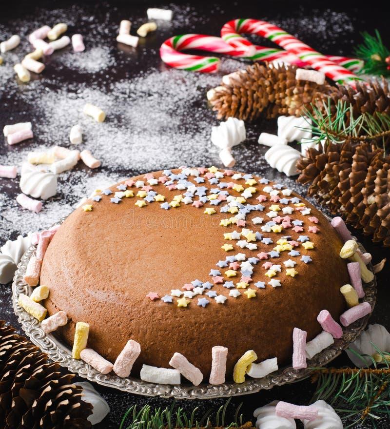Bolo caseiro tradicional do Natal do chocolate com bastões de doces e marshmallow, decoração do ano novo imagens de stock royalty free