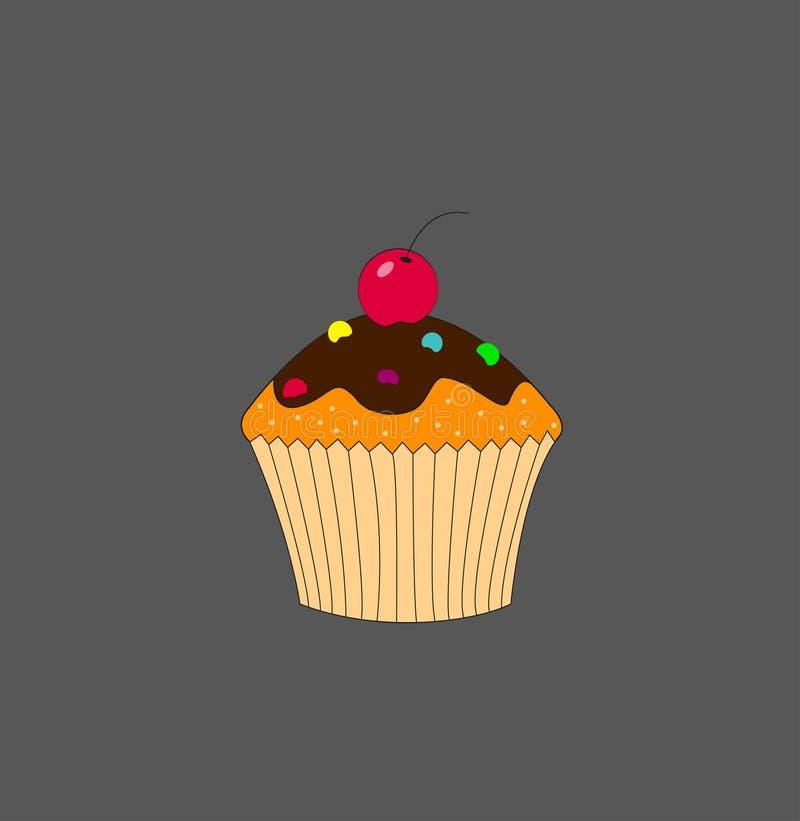 Bolo colorido delicioso do alimento do vetor do queque ilustração do vetor