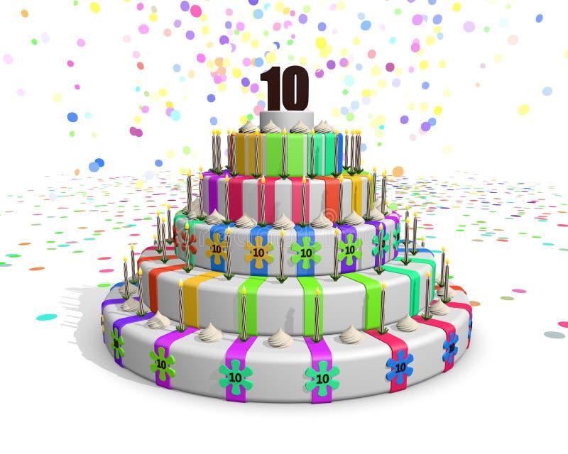 Bolo colorido do arco-íris com em parte superior um chocolate número 10 ilustração stock