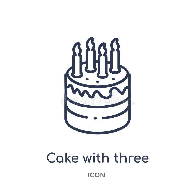 Bolo com três velas de ícone da coleção do esboço do partido Linha fina bolo com três velas de ícone isolado no fundo bran ilustração stock