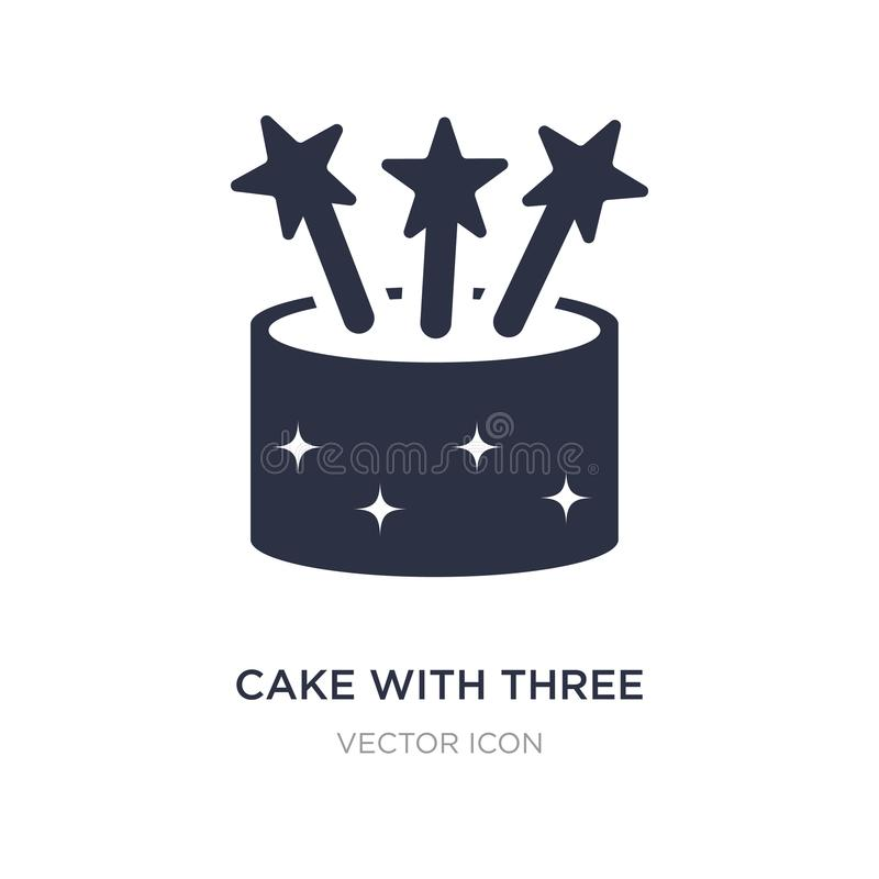 bolo com três velas de ícone no fundo branco Ilustração simples do elemento do conceito do partido ilustração royalty free