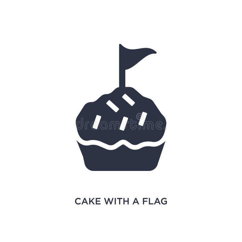 bolo com um ícone da bandeira no fundo branco Ilustração simples do elemento do conceito da cultura ilustração royalty free