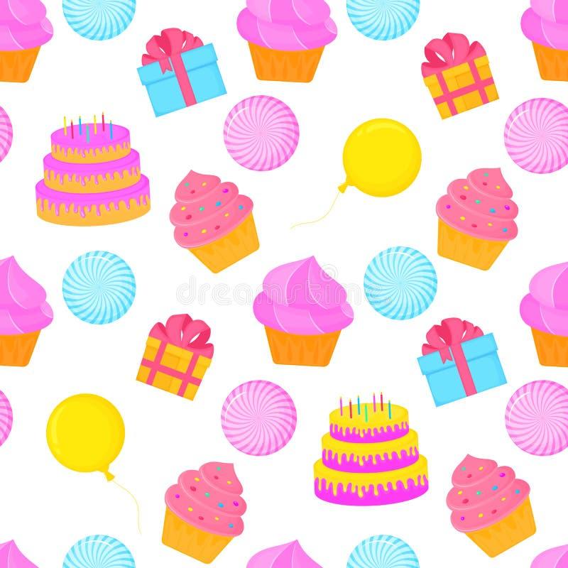 Bolo com velas, queque, balão, caixa com um presente Fundo festivo para uma festa de anos Pode ser usado como o empacotamento, tã ilustração stock