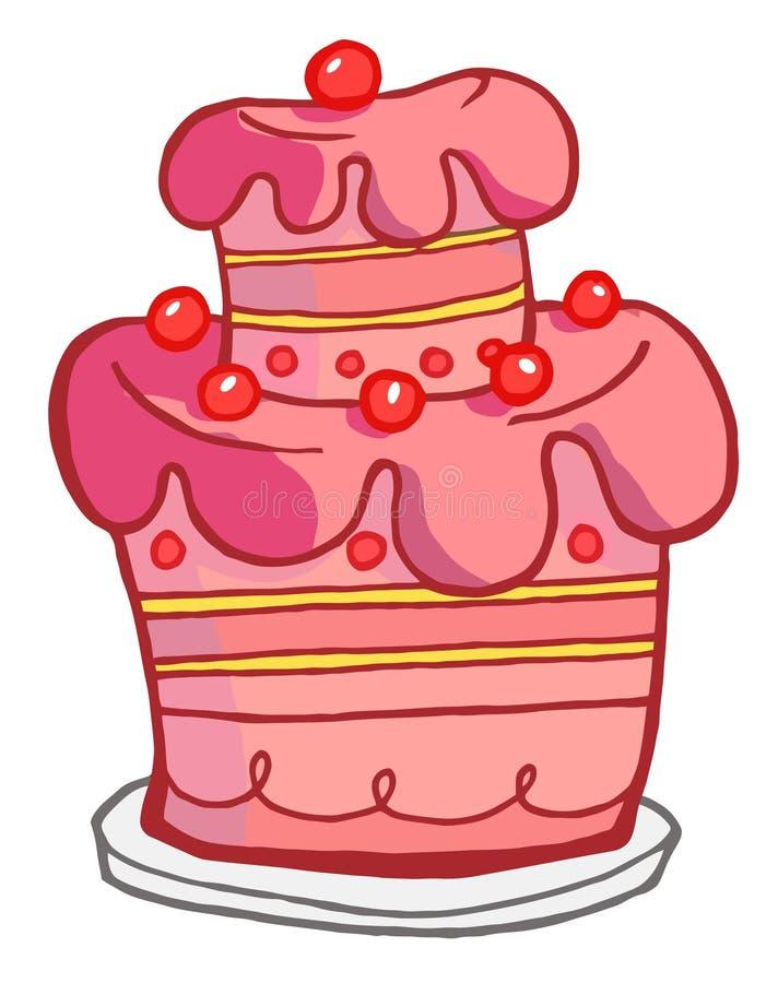 Bolo cor-de-rosa ilustração royalty free