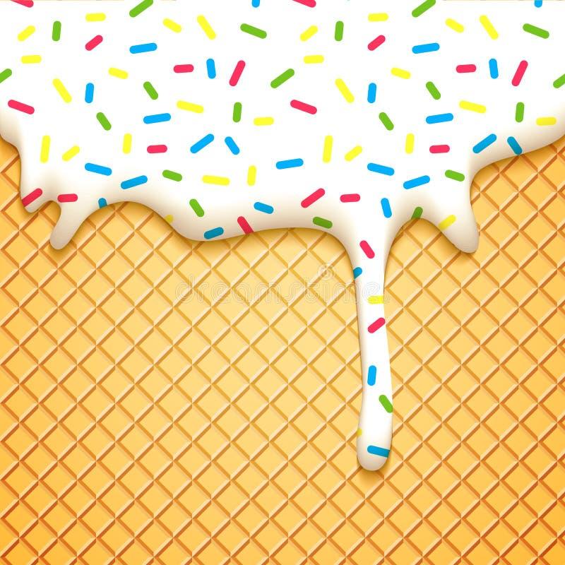Icecream Cone Cupcake Wallpapers Mobile Pics: Bolo Da Bolacha Com Esmalte Ilustração Do Vetor