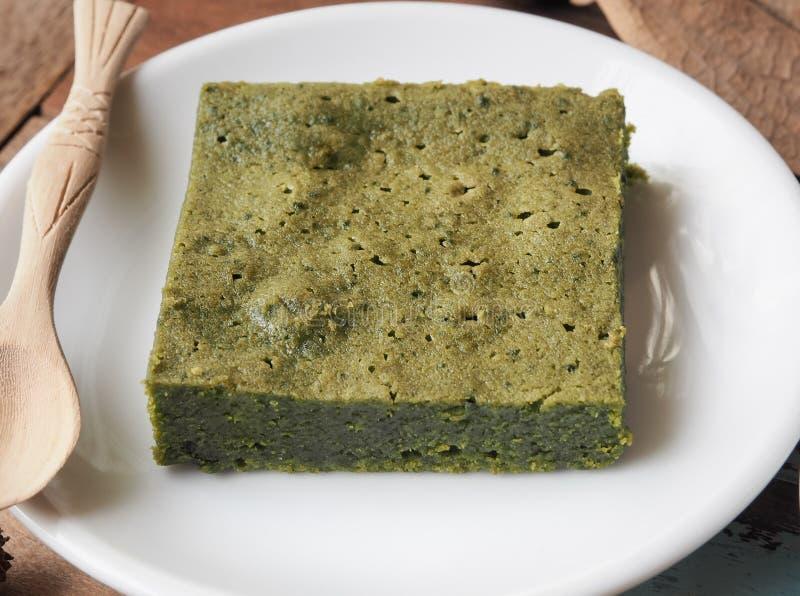 Bolo da brownie do chá verde de Matcha fotos de stock