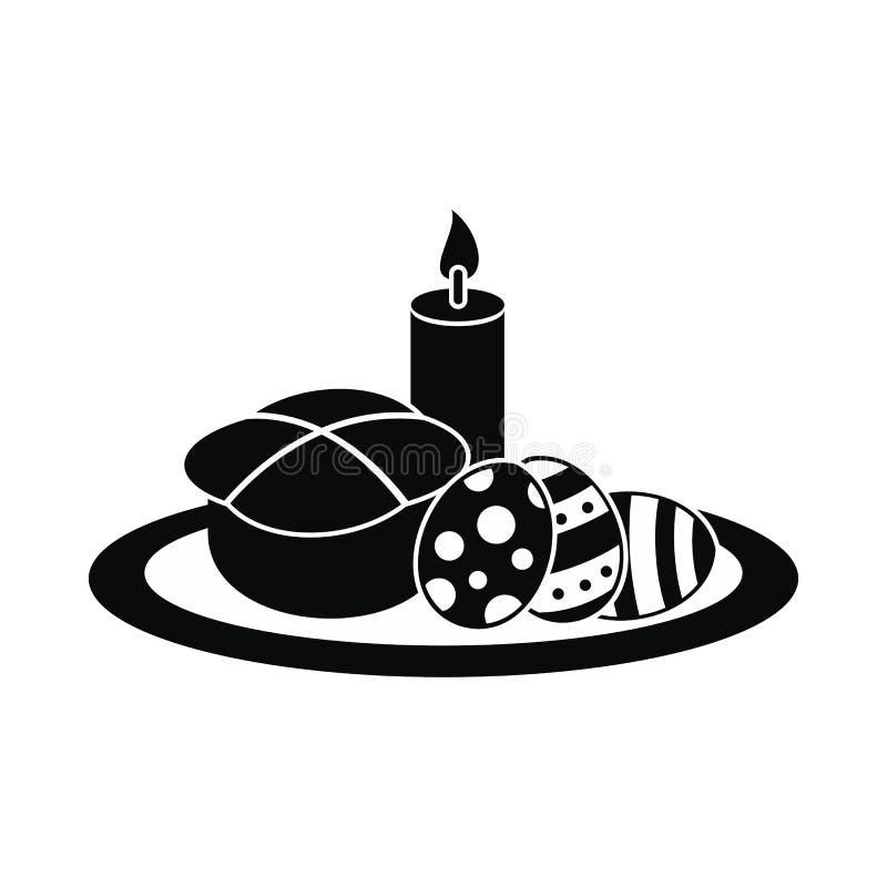 Bolo da Páscoa com ovos e ícone ardente da vela ilustração stock