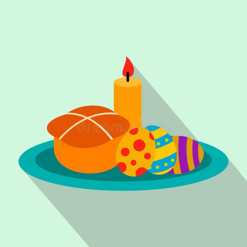 Bolo da Páscoa com ovos e ícone liso da vela ardente ilustração royalty free