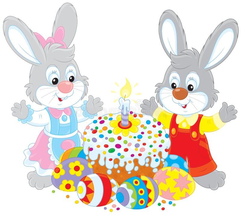 Bolo da Páscoa e ovos pintados ilustração royalty free