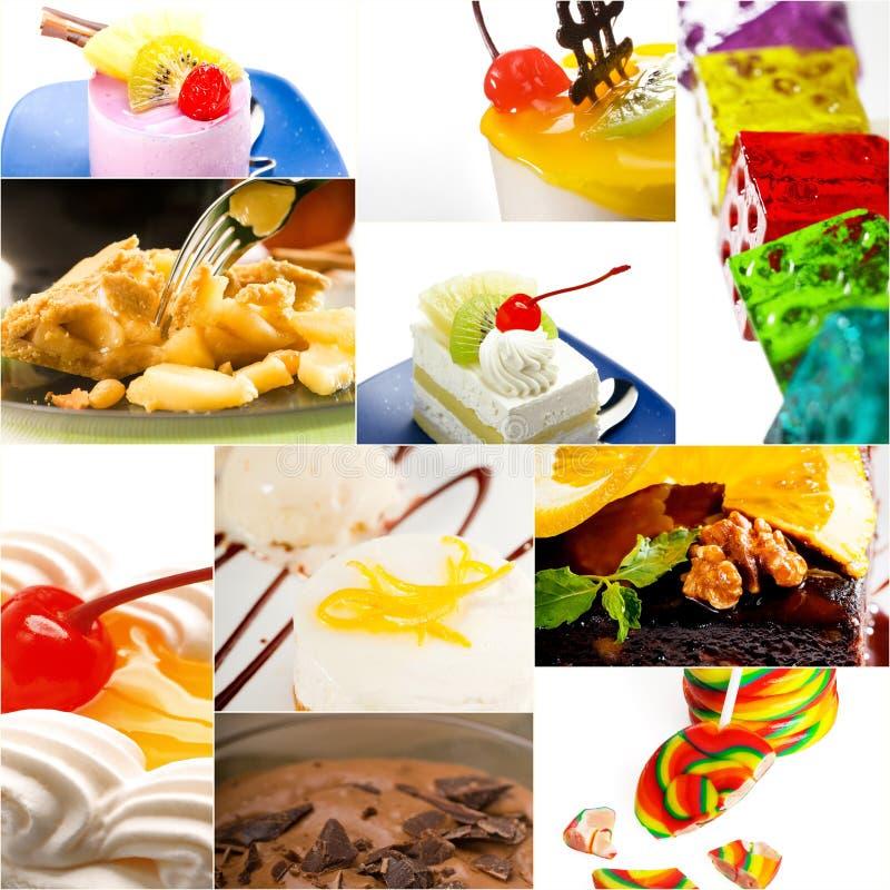Bolo da sobremesa e colagem da coleção dos doces fotos de stock