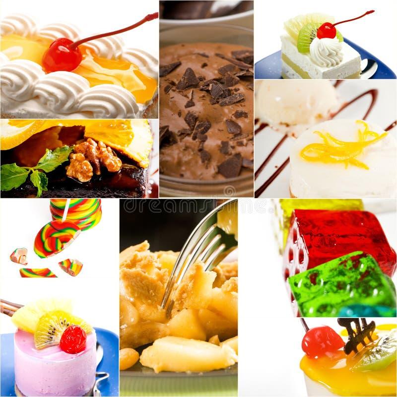 Bolo da sobremesa e colagem da coleção dos doces imagem de stock