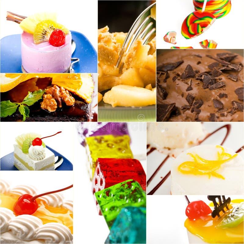 Bolo da sobremesa e colagem da coleção dos doces fotografia de stock royalty free