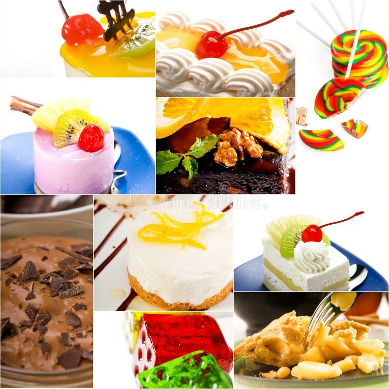 Bolo da sobremesa e colagem da coleção dos doces fotografia de stock