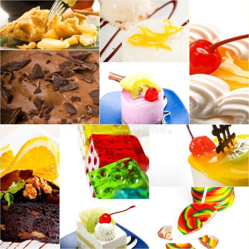 Bolo da sobremesa e colagem da coleção dos doces imagens de stock royalty free