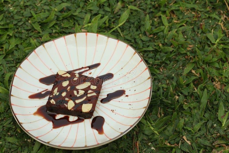 Bolo das brownies do chocolate em uma placa branca imagens de stock