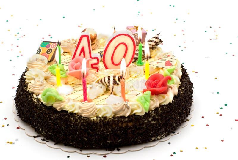 Bolo de aniversário 40 anos fotografia de stock