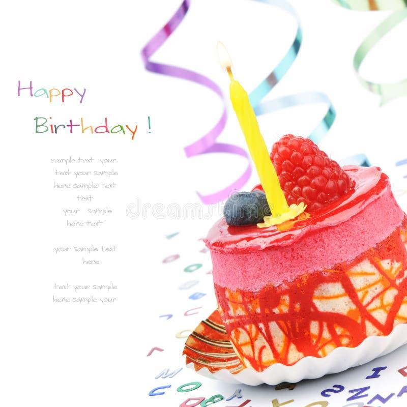 Bolo de aniversário colorido fotografia de stock