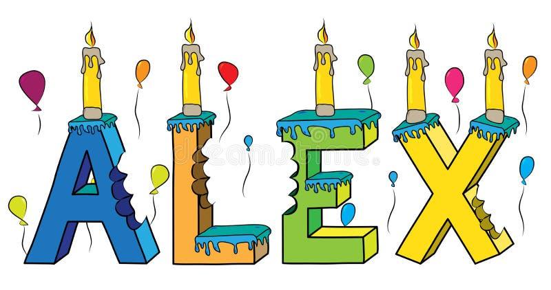Bolo de aniversário colorido mordido da rotulação 3d de Alex nome masculino com velas e balões ilustração stock