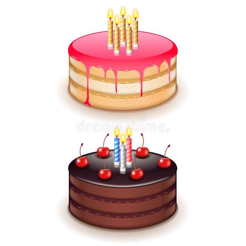 Bolo de aniversário com as velas isoladas no vetor branco ilustração do vetor