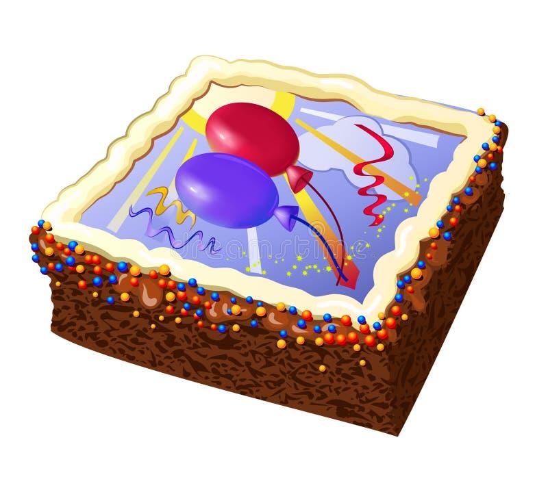 Bolo de aniversário com balões ilustração stock