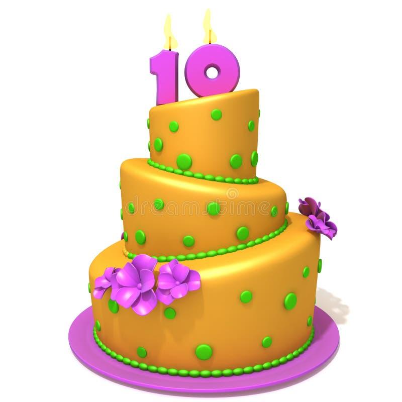 Bolo de aniversário com ilustração 3d do número dez ilustração stock
