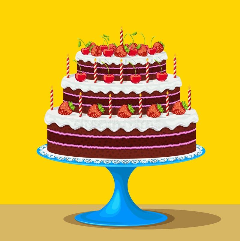 Bolo de aniversário com morangos e cerejas ilustração stock