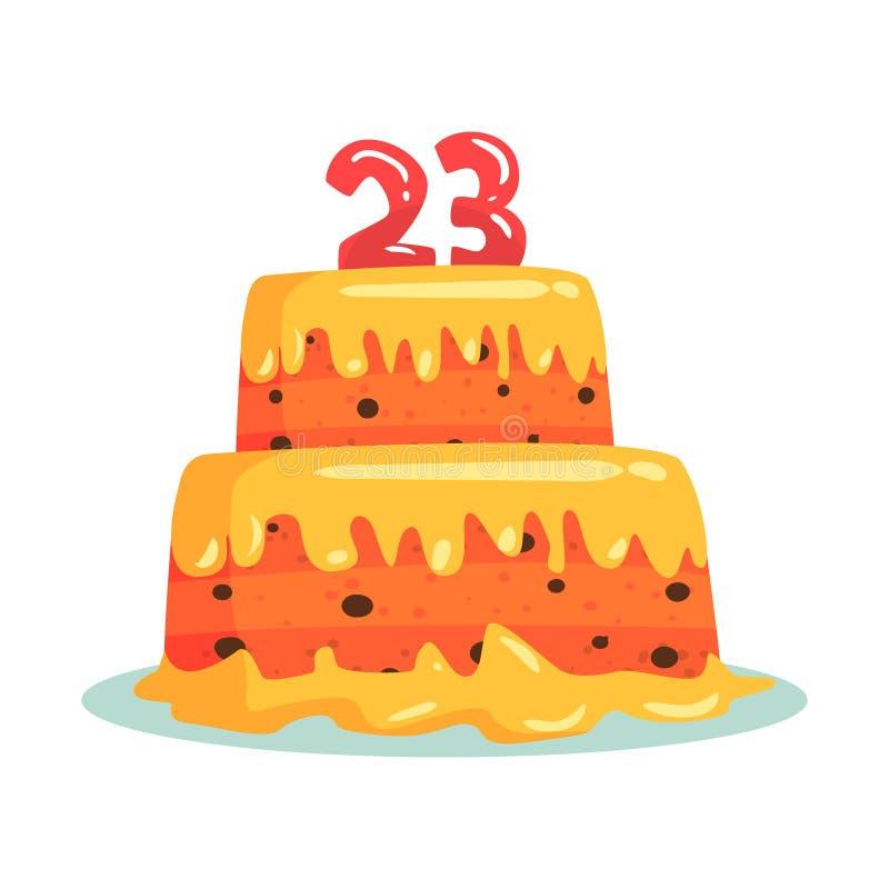 Bolo de aniversário com número 23, ilustração do vetor dos desenhos animados do símbolo do partido da celebração ilustração royalty free