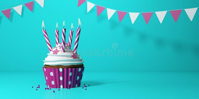 Bolo de aniversário com velas ilustração royalty free