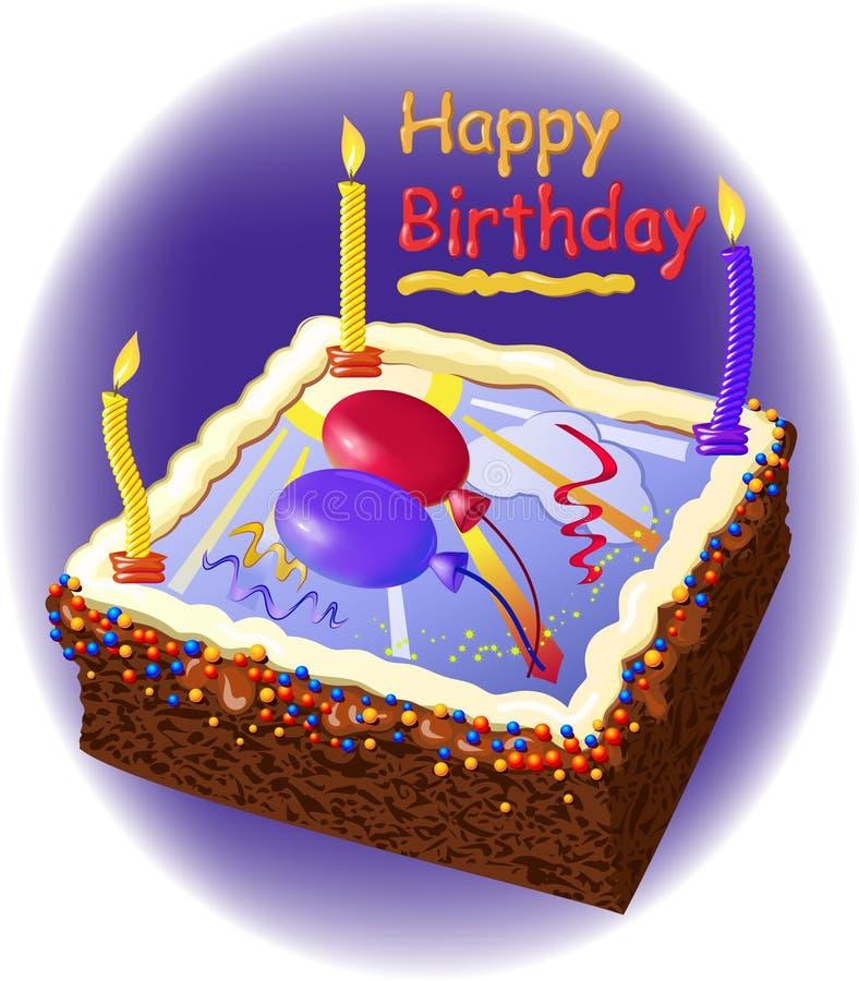 Bolo de aniversário com velas ilustração stock