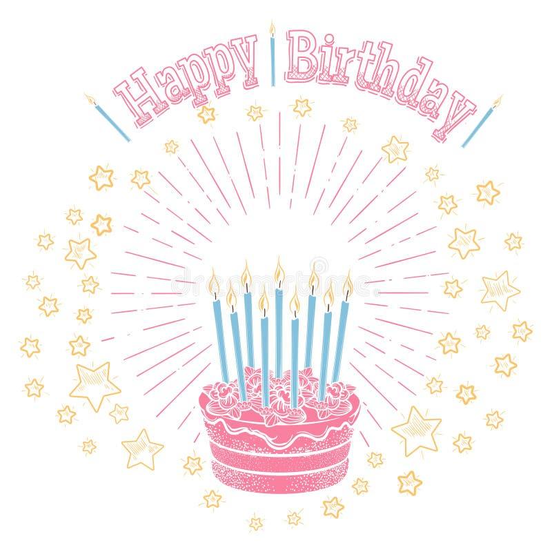 Bolo de aniversário com velas e estrelas ilustração royalty free