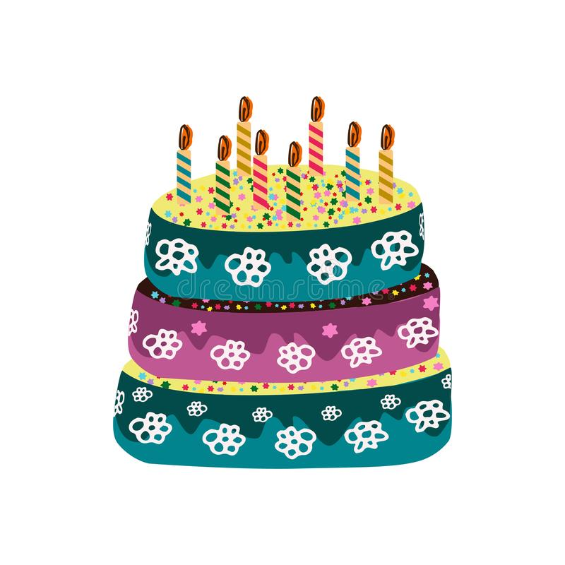 Bolo de aniversário com velas Garatuja, tração da mão Ilustração do vetor no fundo isolado ilustração do vetor