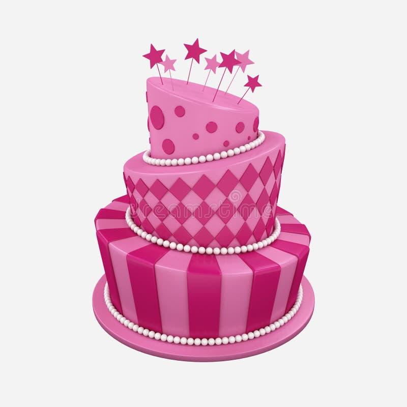 bolo de aniversário da ilustração 3d ilustração royalty free