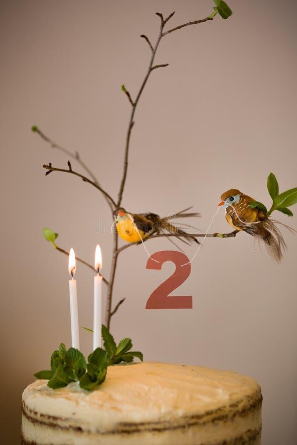 Bolo de aniversário delicioso com ramo de uma árvore, pássaros, velas e número 2 como a decoração Bolo de cenoura branco bonito imagem de stock royalty free