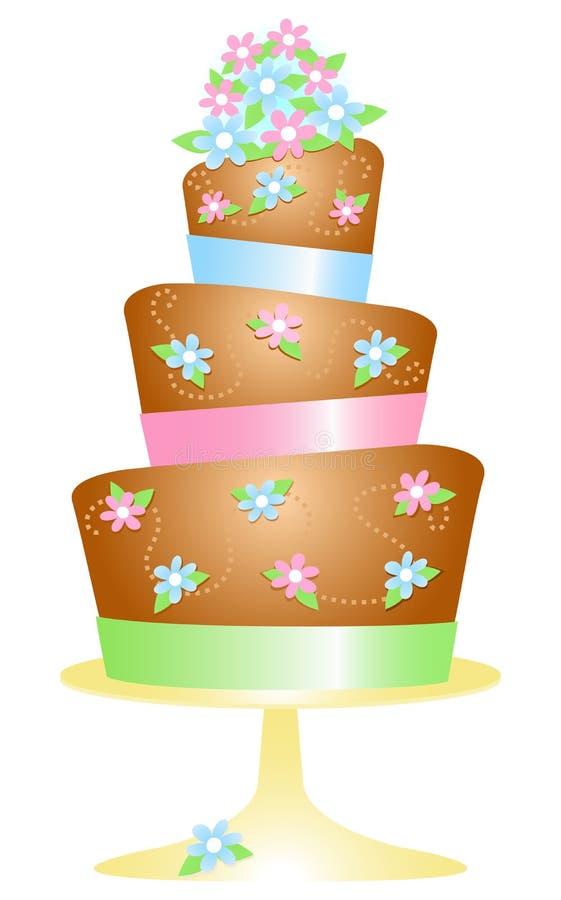 Bolo de aniversário do chocolate ilustração royalty free
