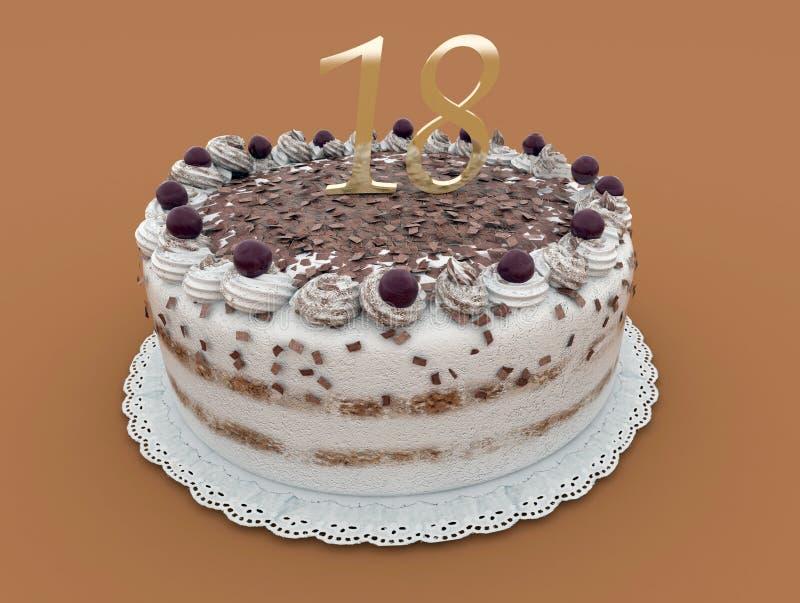Bolo de aniversário do chocolate ilustração stock