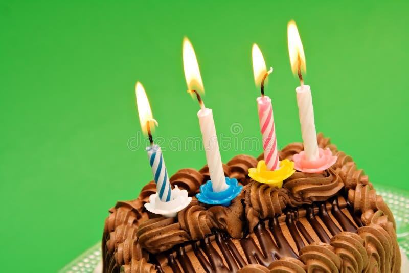 Bolo de aniversário do chocolate fotos de stock royalty free