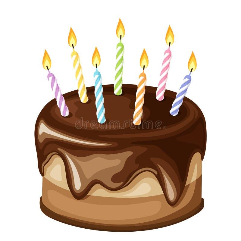 Bolo de aniversário do chocolate com velas Ilustração do vetor ilustração stock