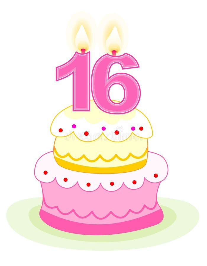 Bolo de aniversário do doce dezesseis ilustração stock