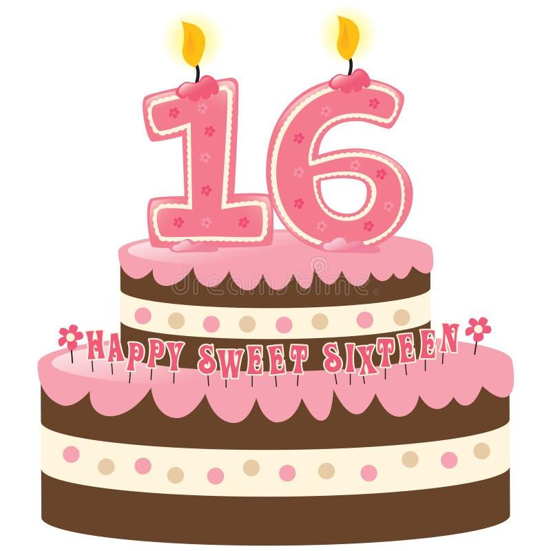 Bolo de aniversário do doce dezesseis ilustração royalty free