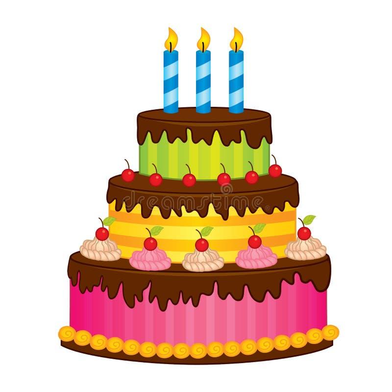 bolo de aniversário do vetor com velas ilustração do vetor