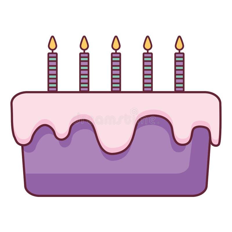 Bolo de aniversário doce com velas ilustração royalty free