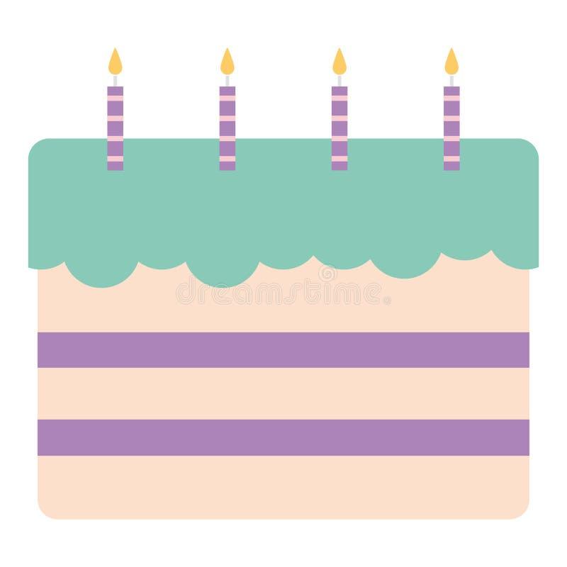 Bolo de aniversário doce com velas ilustração do vetor