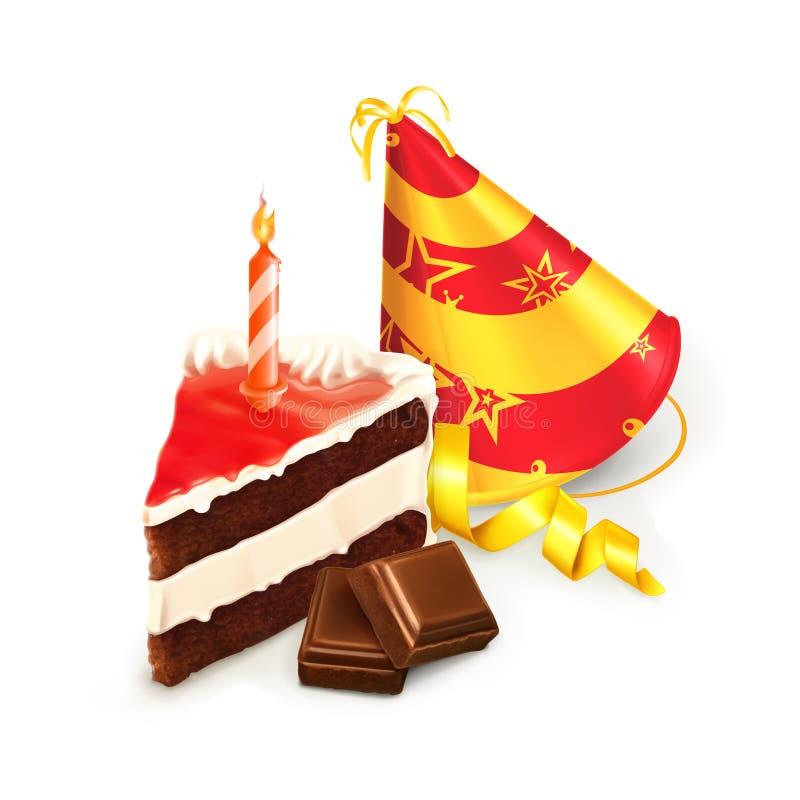 Bolo de aniversário e um chapéu ilustração do vetor